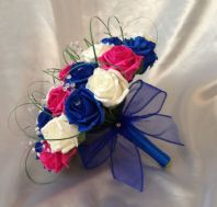 WEDDING FLOWERS ARTIFICIAL IVORY HOT PINK ROYAL BLUE ROSE BRIDE WEDDING BOUQUET